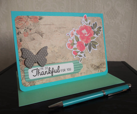 Thankful card in turquoise, light brown and peach with lined envelope