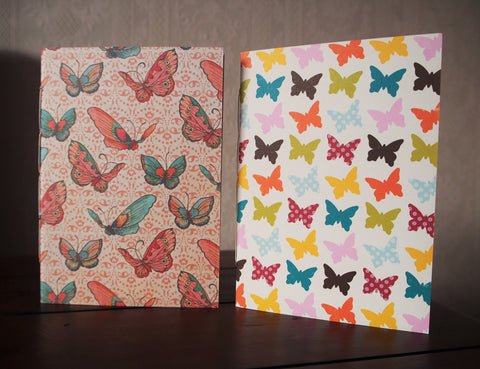 Pretty butterflies notebook set of 2 with double-sided covers