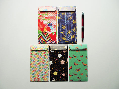 Japanese flora and fauna jumbo-sized money envelopes, gift card holders or voucher holders