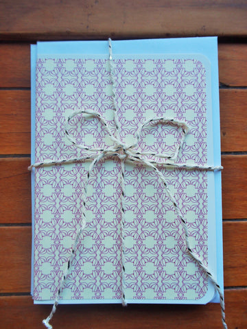 White and purple tile motif card and envelope set