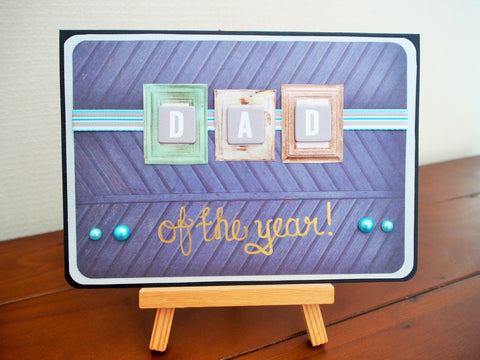 Dad of the year Father's Day card in blue