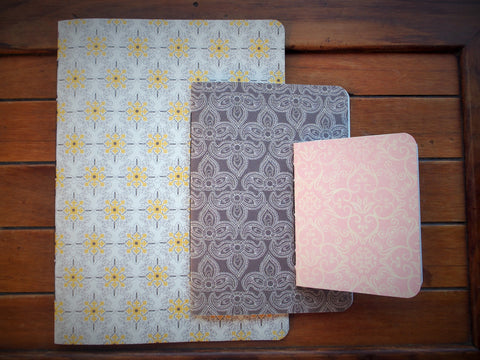 Hand-bound notebooks with pretty double-sided covers--set of 3 in various sizes