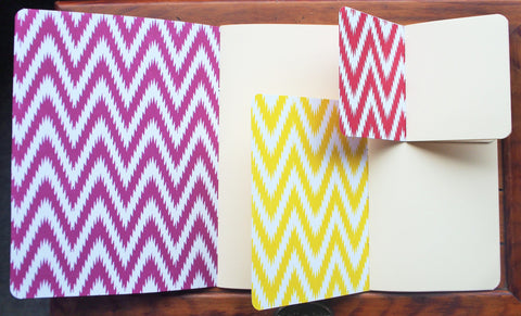 Ikat design hand-bound notebooks--set of 3 in various sizes (purple, yellow and red)