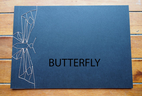 Japanese stab-binding notebooks with unique hand-bound decorative designs: Butterfly, Lotus blossom, Woven