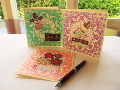 Christmas card set--3 square cards with intricate origami paper backgrounds in assorted colours