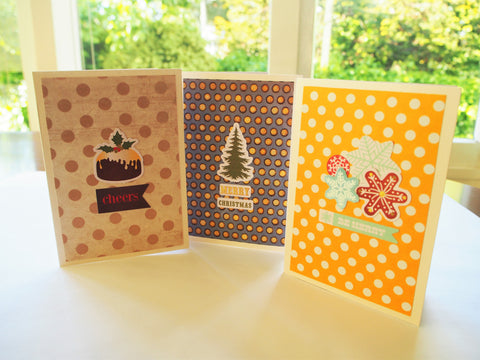 Christmas card sets--3 contemporary cards with pretty polka-dot backgrounds in assorted colours