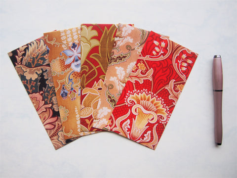 Art Nouveau design Christmas money envelopes, gift card holders, voucher holders--set of 5 in jumbo or horizontal size