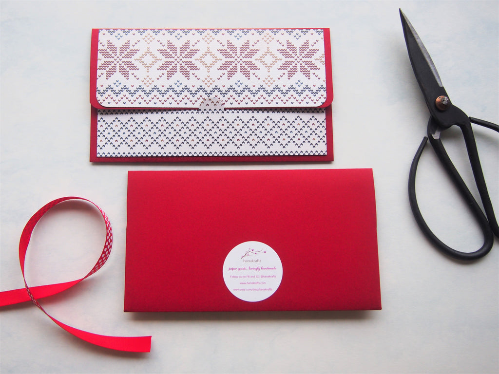 Christmas winter knits design money envelopes on red cardstock--set of 2