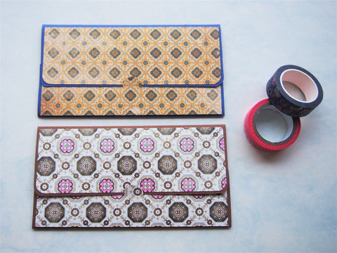 Classic mosaic tiles money envelopes, gift card holders, voucher holders--set of 2 in blue and brown for the traveller
