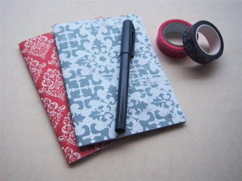 Intricate arabesque handbound notebooks with double-sided covers--set of 2 in A6 size in red and grey