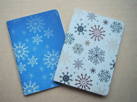 Pretty snowflakes handbound notebook set for a white Christmas--set of 2 in A6 size in light blue and white