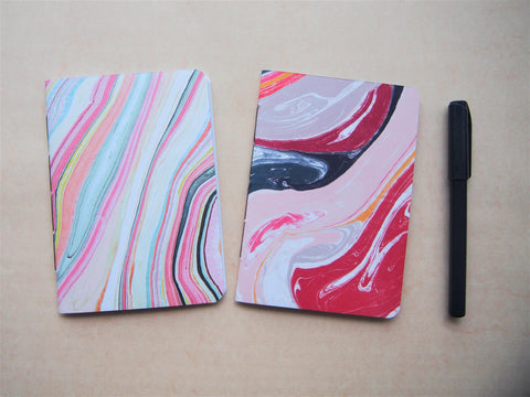 Bright marbled handbound notebook set with polka dots on the inside covers--set of 2