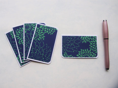 Mini notecard sets made with handmade recycled Indian paper--set of 5 cards, comes in 4 designs