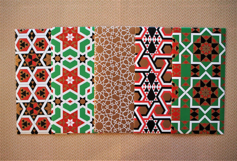 Christmas geometric money envelopes in red, green and gold in a jumbo size