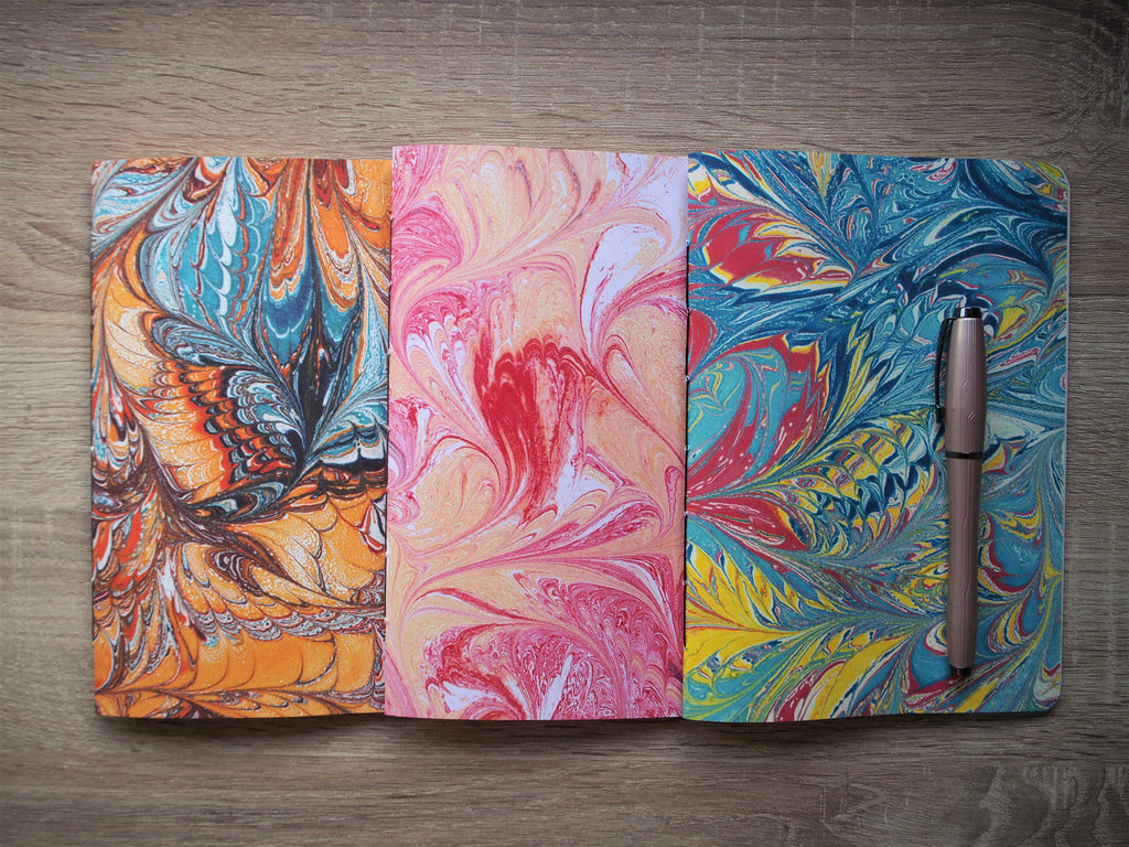 Notebooks with colourful marbled covers—Christmas gift set of 2 (choose from 3 colours: blue, orange or pink)