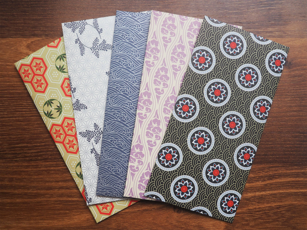 Elegant traditional Asian motifs money envelopes-set of 5 for Christmas in jumbo size