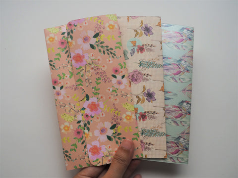 Flowers and feathers handmade money envelopes--set of 3 for Christmas
