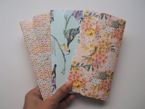 Flowers and birds handmade money envelopes--set of 3 for Christmas
