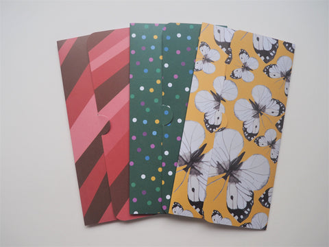 Polka dot, butterflies and abstract lines handmade money envelopes--set of 3