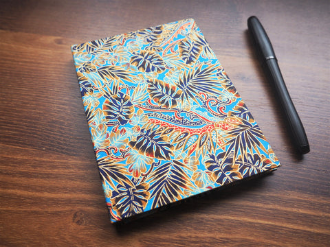 Embossed gold and rich blue leaves on premium origami paper hardcover journals with blank white pages