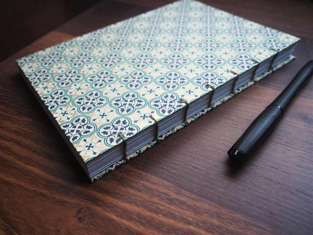 2020 year planner and organizer: hand-bound with beautiful Italian tiles design and exposed binding on the spine