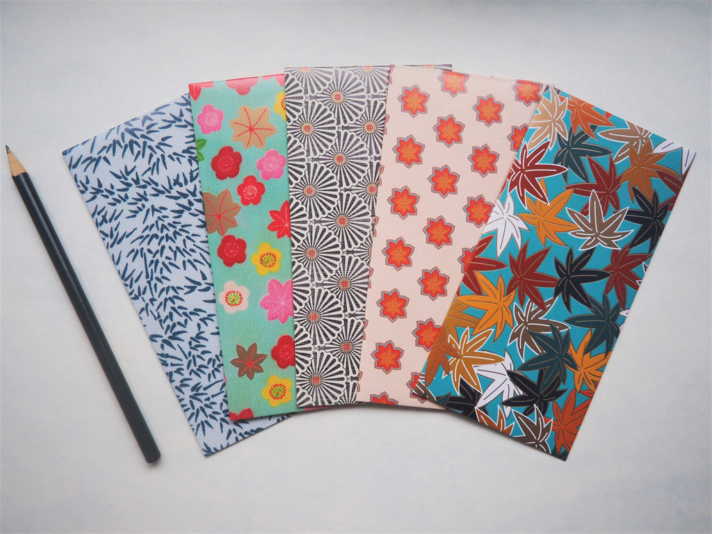Asian botanical designs money envelopes--set of 5 in jumbo and horizontal size