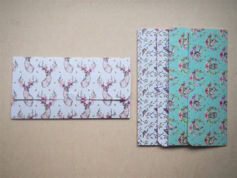 Woodland creatures long money envelopes--set of 3, Christmas, birthdays, gift for her