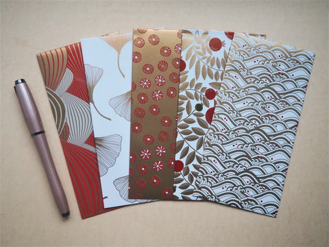 Red, gold and white festive money envelopes for Christmas--set of 5 in jumbo size