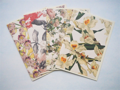 Mixed florals card set--set of 4 blank handmade cards in different designs, with matching lined envelopes