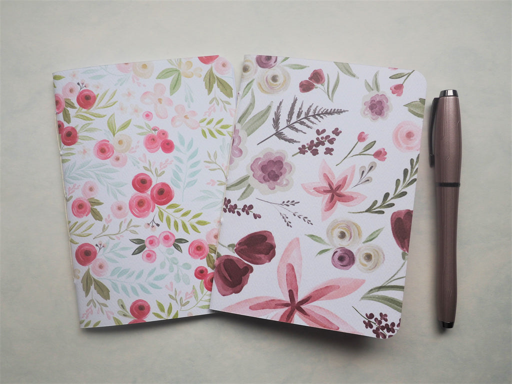 Elegant purple and pink florals on white--set of 2 handbound notebooks for Christmas