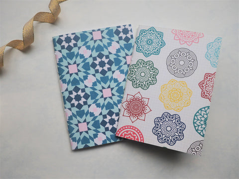 Blue mosaics and colourful mandalas--set of 2 handbound notebooks for Christmas and birthdays