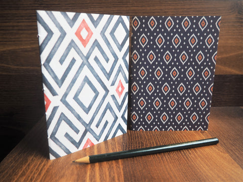 Navy blue ikat designs--set of 2 handbound notebooks for Christmas