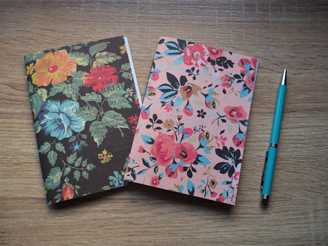 Pretty floral notebooks in pink and black with double-sided designer covers--set of 2