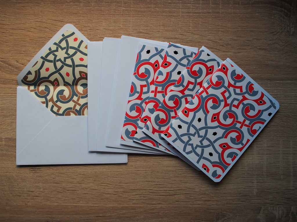 Elegant arabesque card and envelope set in red and grey--complete set of 4