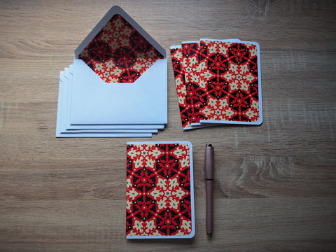 Bold arabesque card and envelope set in red and black--complete set of 4