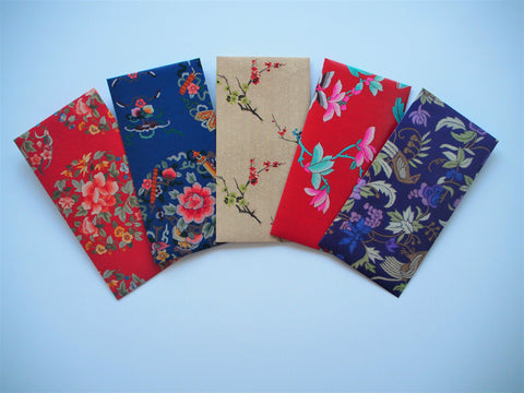 Money envelopes with oriental floral designs in a jumbo size--set of 5 for Chinese New Year