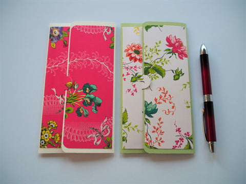 Pink, cream and light green flowers--set of 2 long money envelopes for Chinese New Year