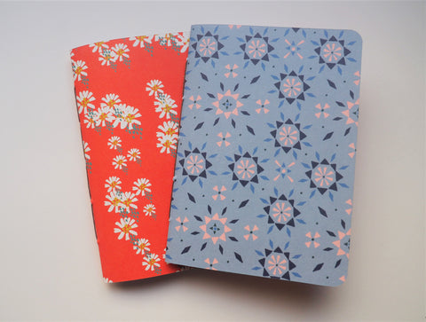 Pretty little floral motifs notebooks in red and blue set of 2--for Chinese New Year, Christmas and Valentine's
