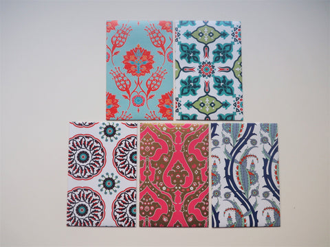 Ornate traditional Turkish patterns with red accents--set of 5 for CNY, Christmas and Eid in wide and horizontal design