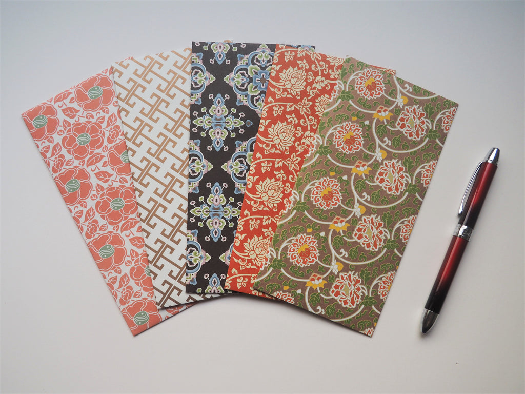 Chinese red peonies and abstract motifs money envelopes--set of 5 in jumbo design for CNY