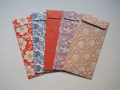 Delicate Chinese florals money envelopes--set of 5 in jumbo design for CNY
