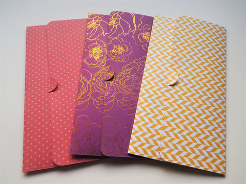 Golden flowers, polka dots and zigzag long money envelopes--set of 3 for CNY, Christmas and birthdays