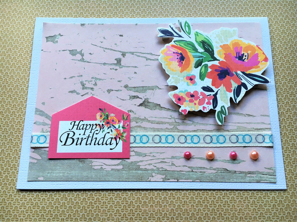 Spunky pink stamped Happy Birthday card with floral decorations