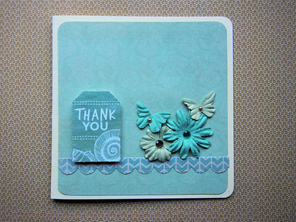 Cool green and beige Thank You card with flowers and butterflies