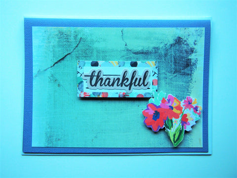 Thankful card in blue with floral bouquet, for work colleagues, for bosses
