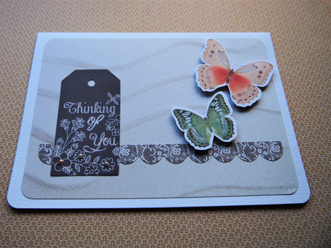 Beige sandy waves Thinking of You card with butterflies--for illness, grief and mourning