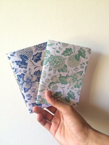 Blue and green botanical journals--covers