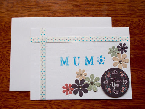 White and blue 'Thank You' stenciled Mother's Day card with flowers and pearls