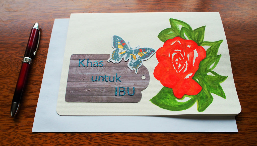 Hand-painted in water colour Mother's Day card in Malay: Khas untuk ibu