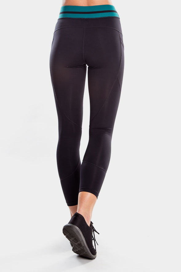 Lucinda 7/8 Legging Black/Green
